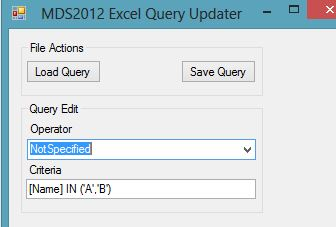 Master Data Services Excel Add-in Query updater